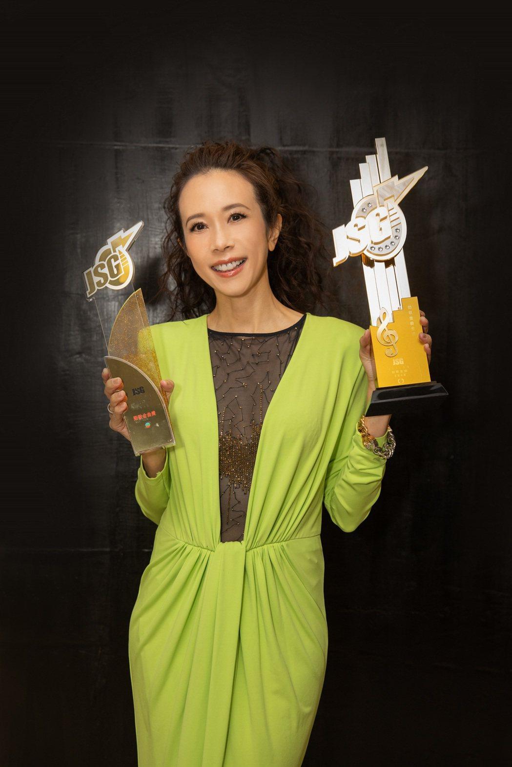 莫文蔚在2020年度勁歌金曲頒獎典禮拿下「勁歌金曲金獎」。圖/莫家寶貝工作室提供