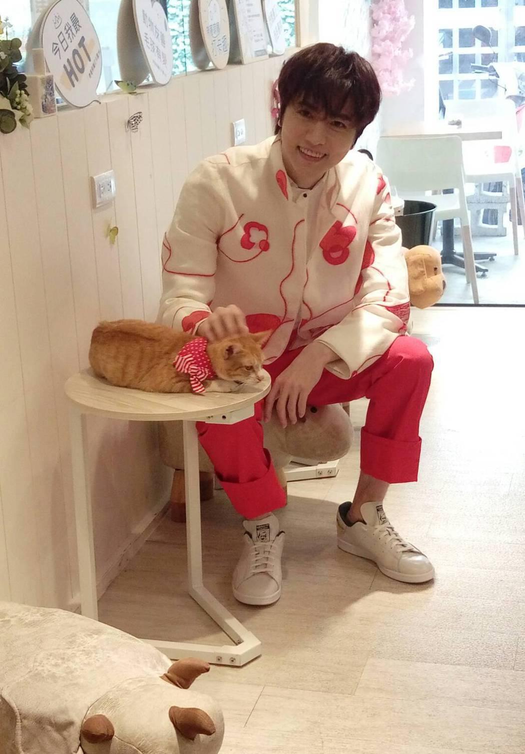 陳璽安與臺北市流浪貓保護協會合作的公益明信片傳遞愛分享愛。記者 楊起鳳/攝影
