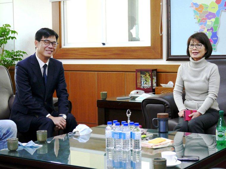 高雄市長陳其邁(左)今下午到議會拜訪議長曾麗燕(右)等人,爭取支持總預算案。圖/...