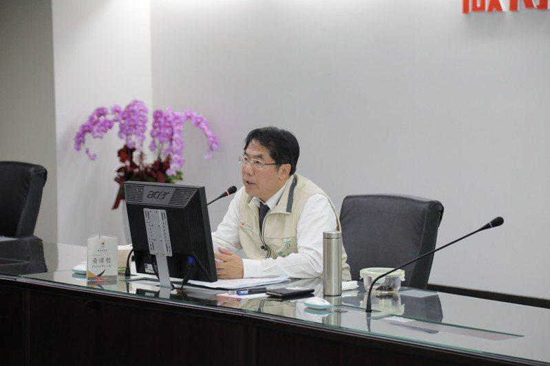 台南市長黃偉哲今天下午主持新冠肺炎一級指揮中心會議。圖/台南市政府提供