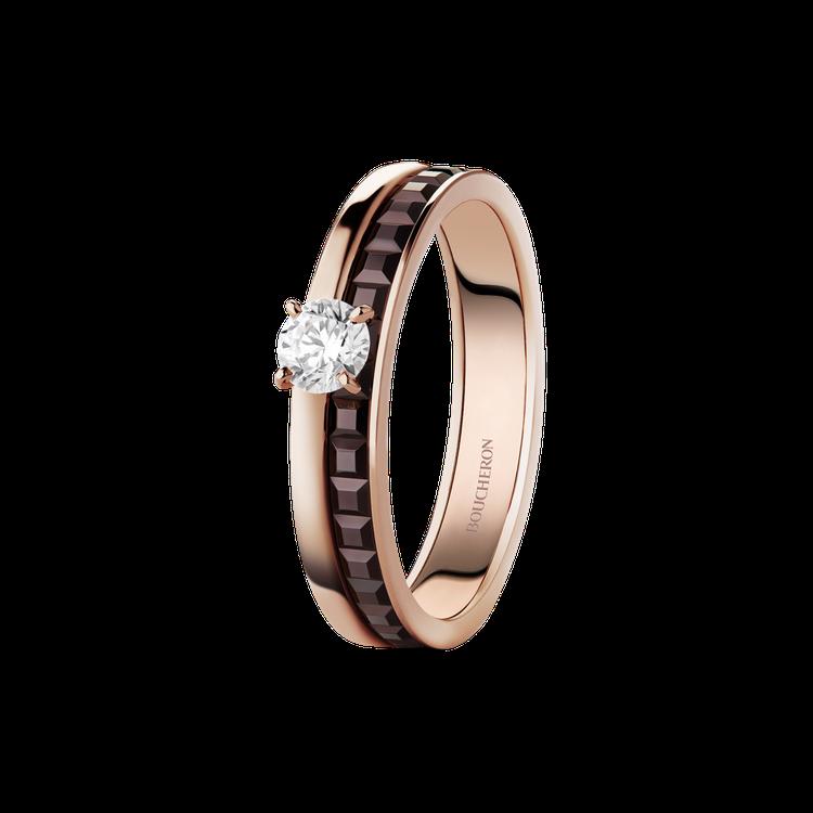 Boucheron Quatre Classique系列單鑽指環,黃金和玫瑰金7...