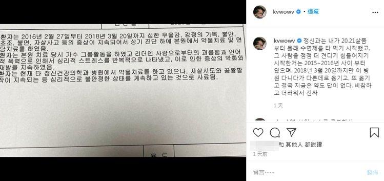 珉娥痛訴自己近來飽受酸民折磨,因而曝光自己的精神診斷書。圖/擷自珉娥IG