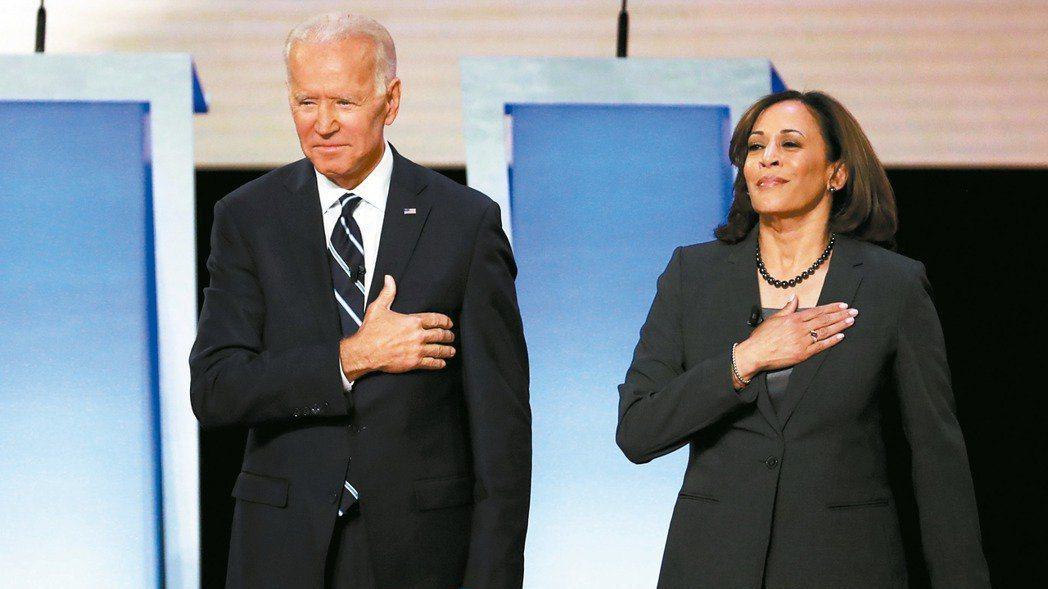 美國總統當選人拜登(左)與副總統當選人賀錦麗。路透
