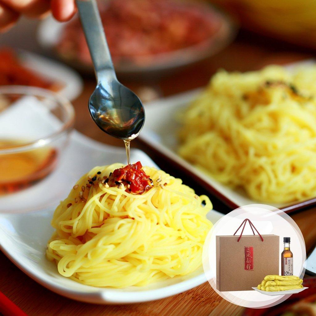 運用古法製成的炊仔麵線,加入養身薑黃,搭配台中大肚山的9號紅土花生油。 三風製麵...