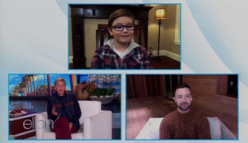 賈斯汀(右下)與「帕瑪」童星萊德艾倫共同登上「艾倫秀」受訪。圖/摘自Youtub...