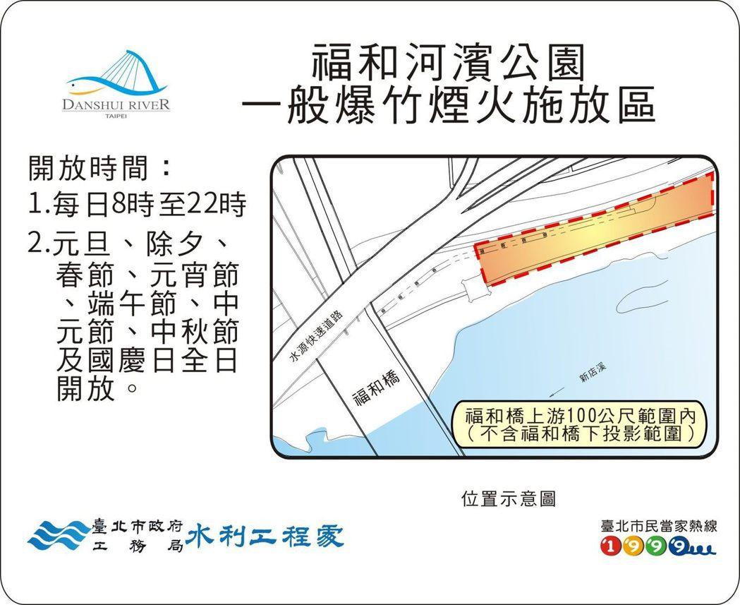 春節期間,台北市部分河濱公園依照往例開放燃放爆竹煙火。 圖/北市水利處提供