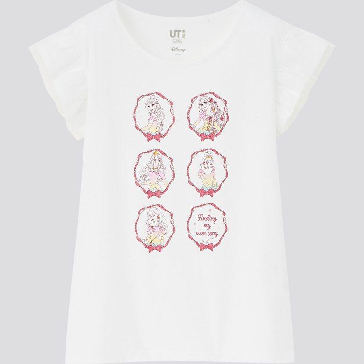 迪士尼公主UT系列女童印花T恤390元。圖/UNIQLO提供