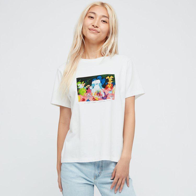 愛麗絲夢遊仙境UT系列女裝印花T恤590元。圖/UNIQLO提供