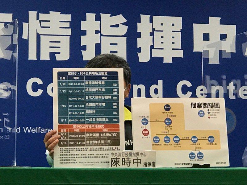 指揮中心公布案863、864公共場所活動史。記者黃惠群/攝影