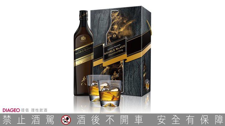 JOHNNIE WALKER雙黑極醇限定版蘇格蘭威士忌禮盒(內含兩只經典醴讚杯)...