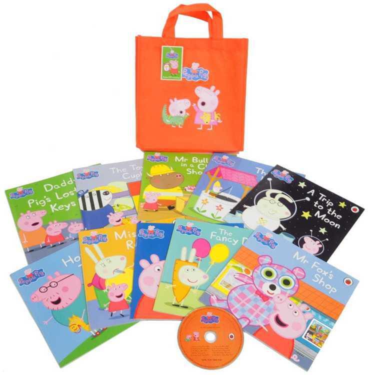 《粉紅豬小妹》開學大吉聽讀書袋(10本書+CD合售),定價2,745元、博客來2...
