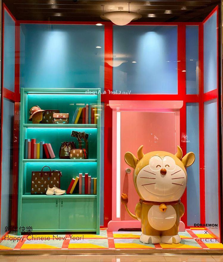 Doraemon x Gucci聯名系列店中店櫥窗(台北101)。記者吳曉涵/攝...