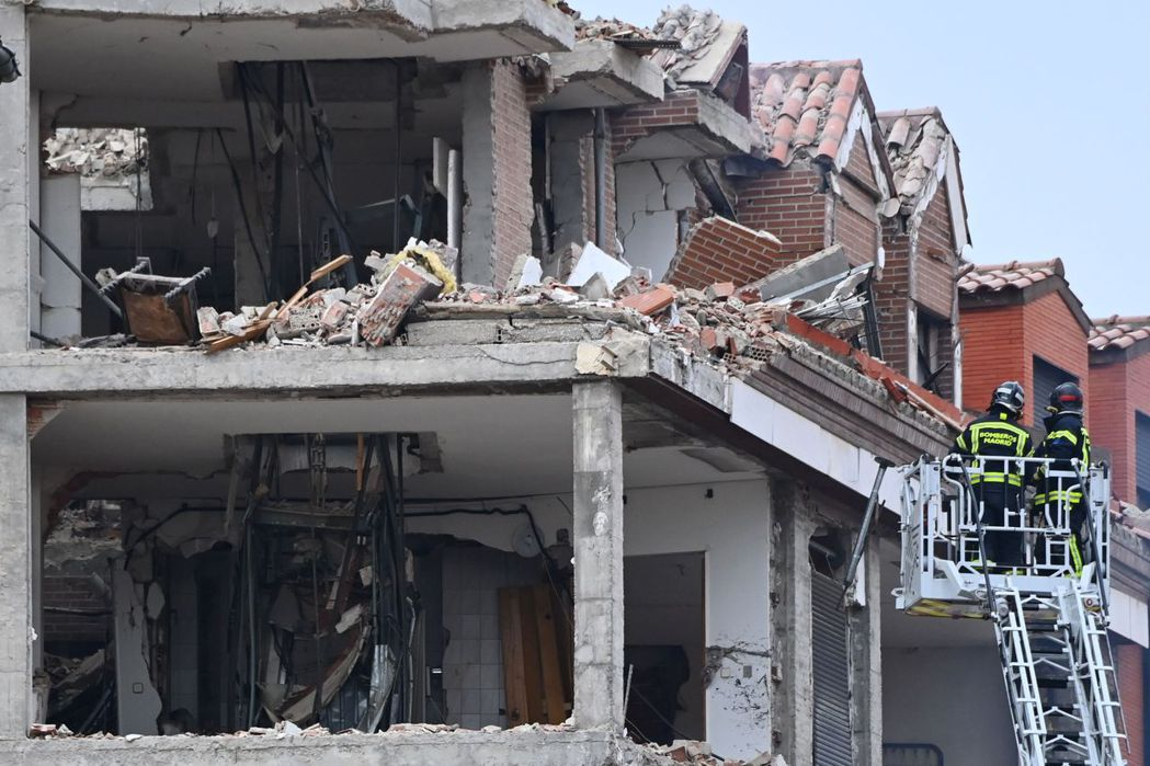馬德里市中心被爆炸波及的房屋。法新社