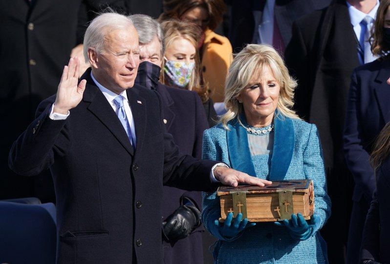 拜登宣誓就職,正式成為美國第46任總統。 路透