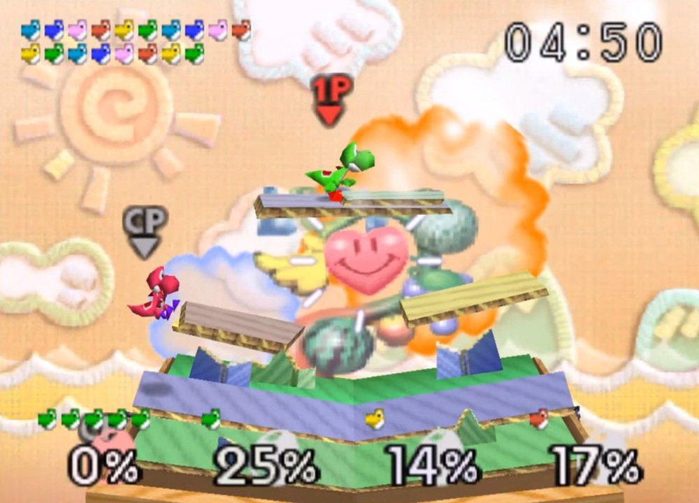 舞台的背景都是參考自任天堂旗下各種遊戲所做,百分比數字代表的是角色容易被打飛出場...
