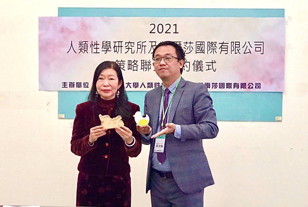 樹德科大人類性學研究所所長林燕卿(左),右為凱爾莎國際公司董事長陳秉楓(右)。