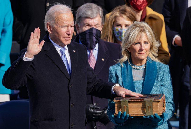 拜登宣誓就職,正式成為美國第46任總統。 法新社