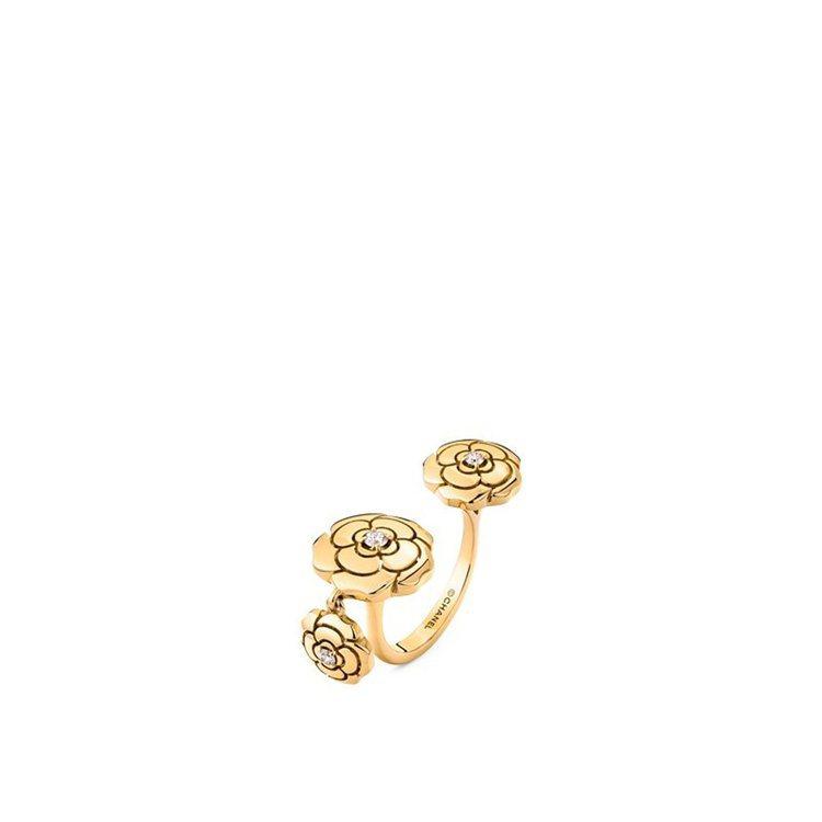 Extrait de Camélia戒指,18K黃金鑲嵌3顆總重約0.12克拉明...
