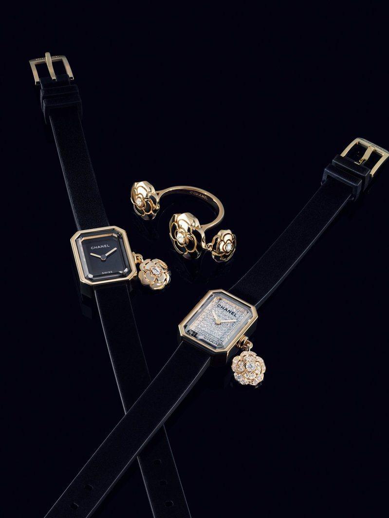 全新香奈兒Première Extrait de Camélia系列珠寶與腕表,裝飾精巧的山茶花吊墜。圖/香奈兒提供