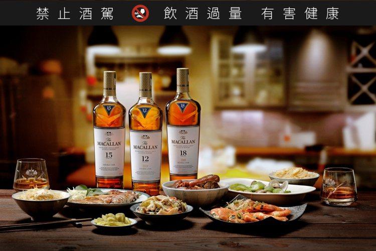 「麥卡倫雙雪莉桶系列」以雙重雪莉詮釋雙桶工藝,成為台灣人餐桌上的美麗風景。圖/麥...