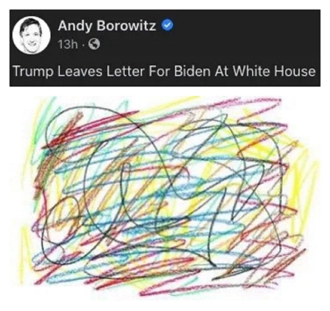 美國前總統川普按傳統留一封信給新總統拜登,網友製圖稱拜登只會拿到一張蠟筆亂畫的圖...