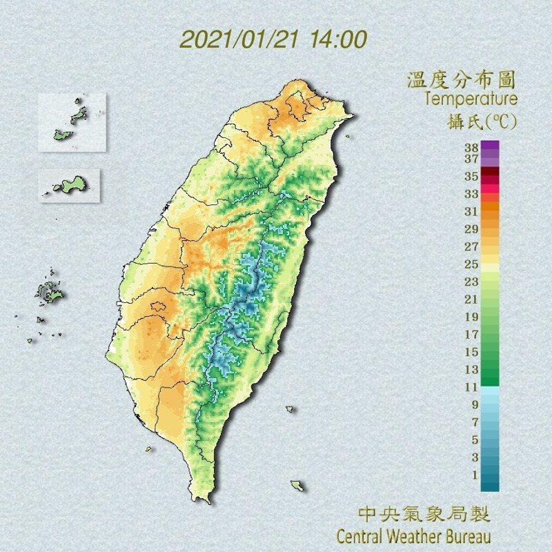 台北測站今天高溫29.8度,創下72年來1月第二高溫紀錄。圖/取自氣象局官網
