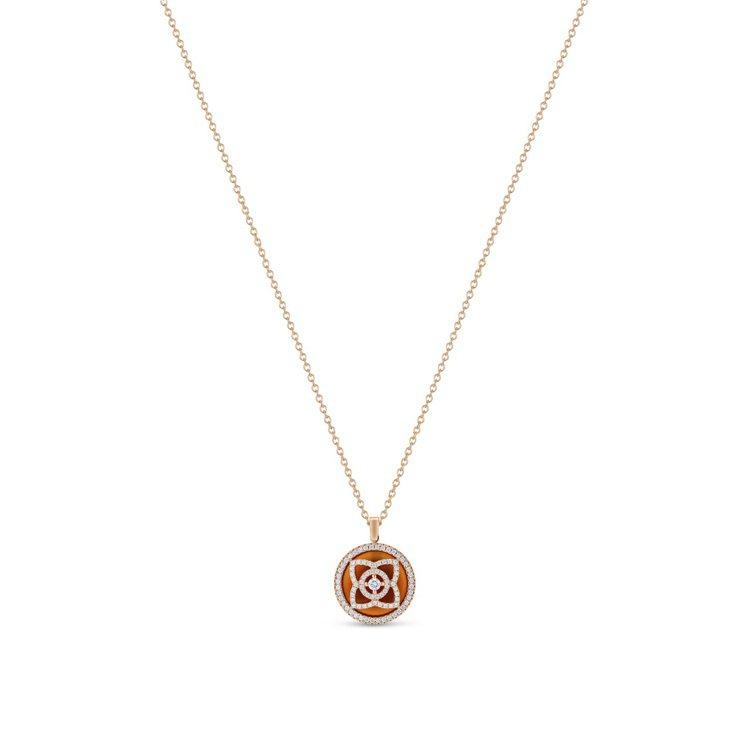 DE BEERS Enchanted Lotus 18K玫瑰金紅玉髓鑽石圓牌項鍊...