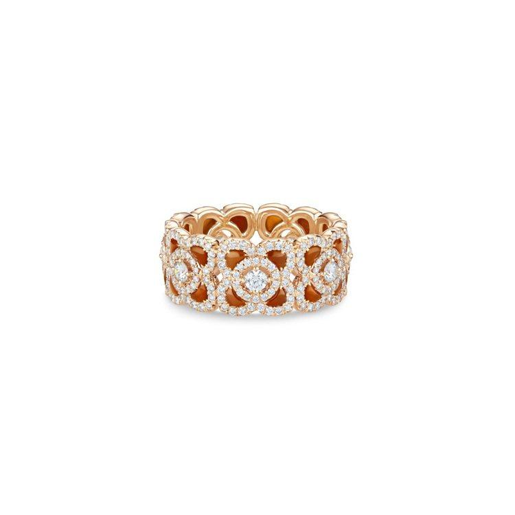 DE BEERS Enchanted Lotus 18K玫瑰金紅玉髓鑽石戒指,2...