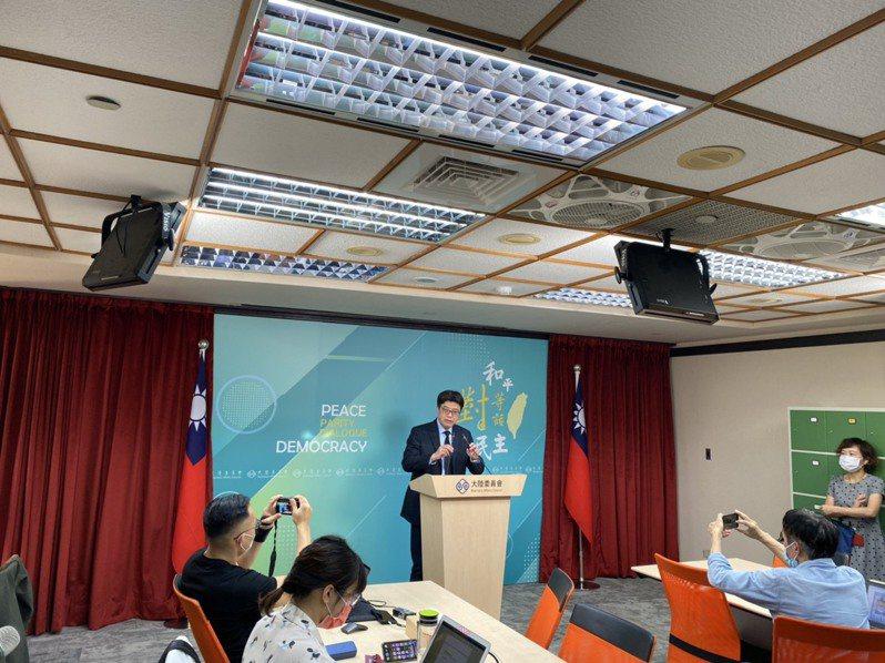陸委會今舉行例行記者會。記者呂佳蓉/攝影