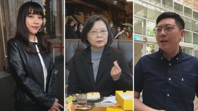 總統蔡英文(中)下令要有戰略的協助無黨籍議員黃捷(左),但對自家黨員王浩宇(右)的罷免案卻冷處理。圖/聯合報系資料照片