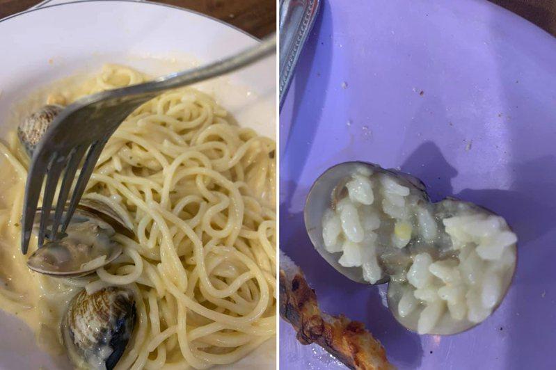 一名媽媽帶孩子去吃義大利麵,卻發現餐點裡的蛤蜊有一顆裡頭包覆著滿滿飯粒,詢問店家得到的答案讓她非常傻眼。 圖/翻攝自「爆怨公社」