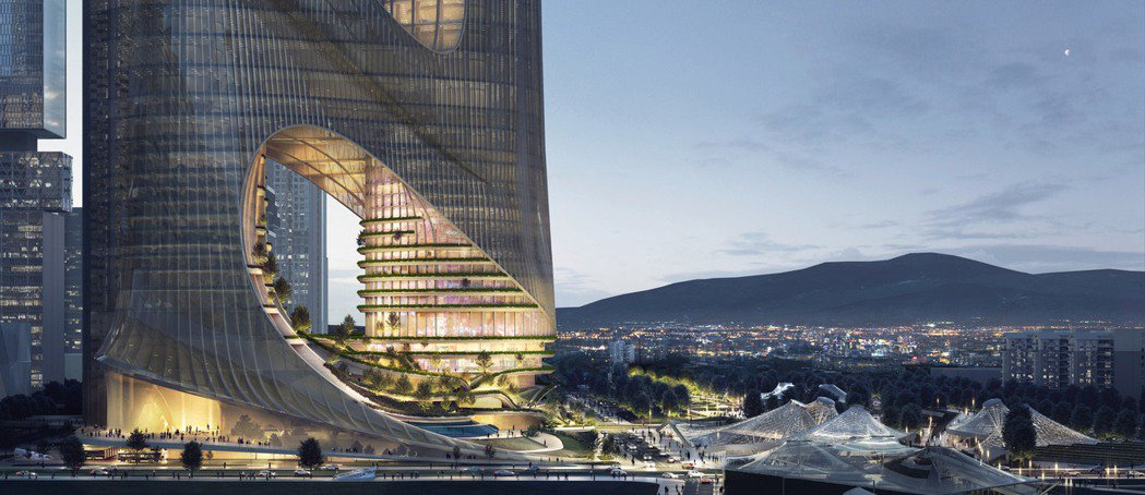 深圳灣超級總部的C塔,將大樓與四周公園、廣場連結。圖/摘自Zaha Hadid ...