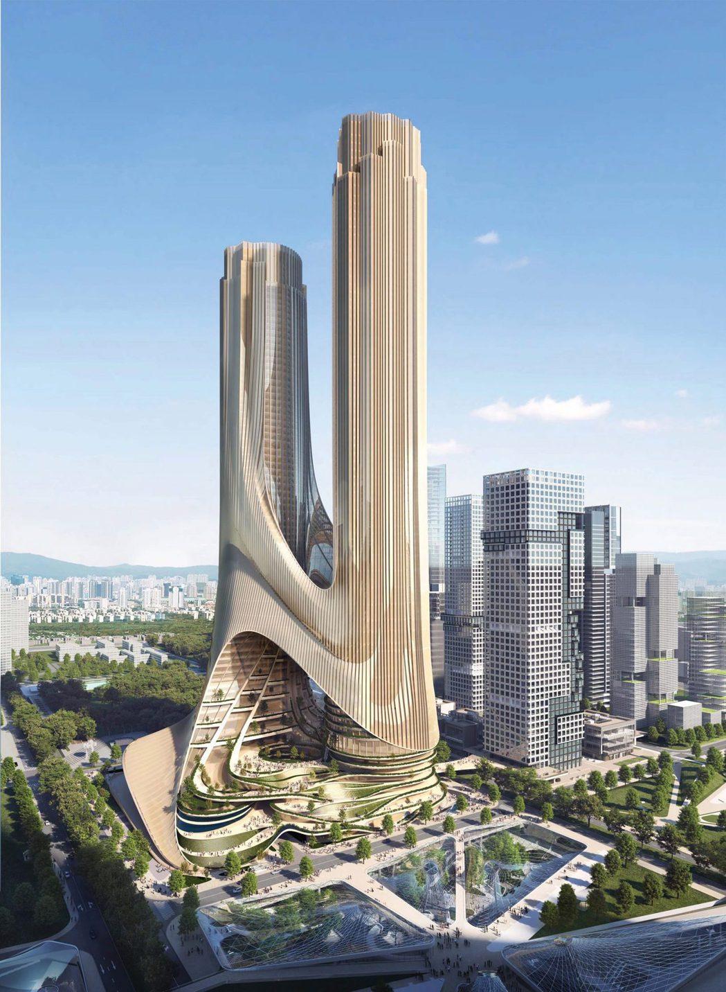 深圳灣超級總部的C塔,整體設計概念來自梯田。圖/摘自Zaha Hadid Arc...