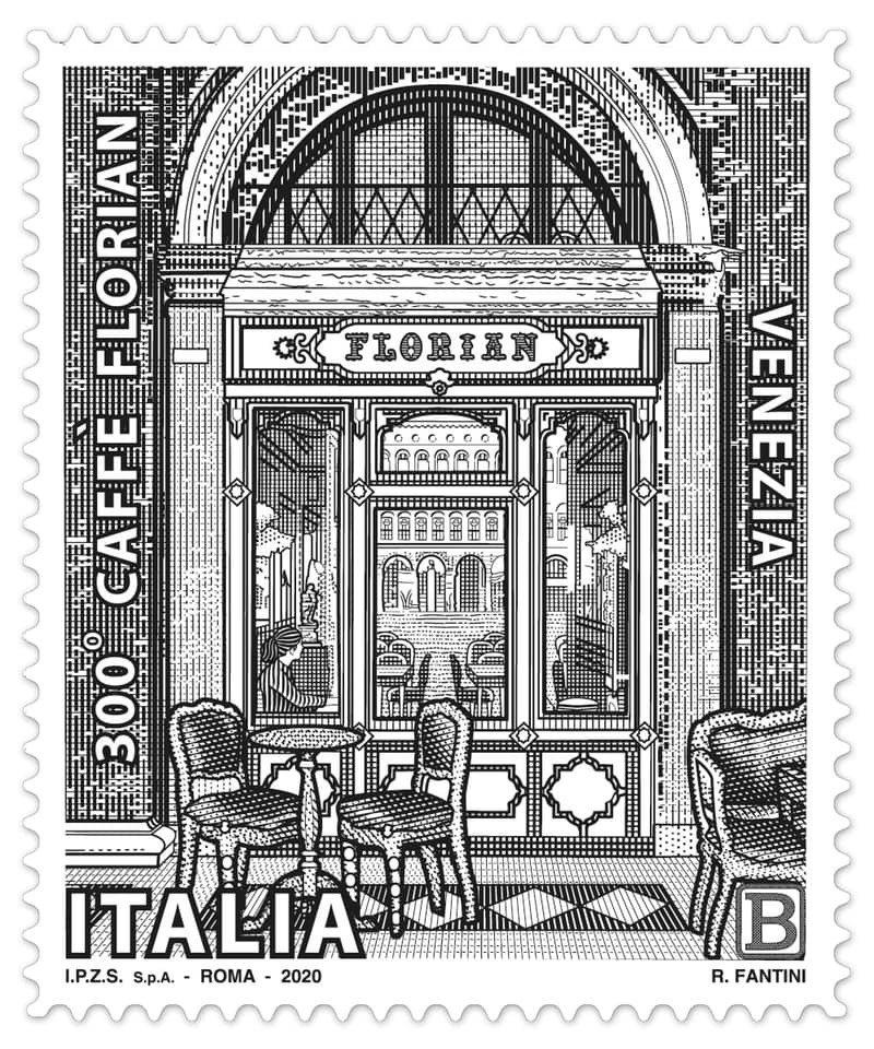 Caffè Florian推出的300年紀念郵票。圖/摘自Caffè Flori...