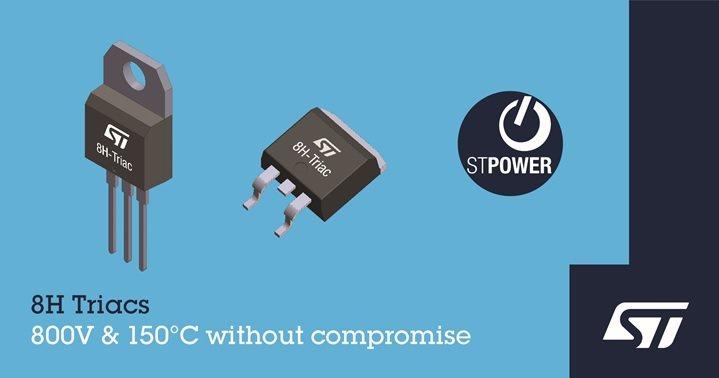 意法半導體推出高溫Snubberless 800V H系列雙向交流可控矽開關可節...