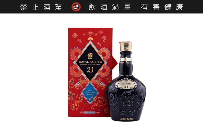 皇家禮炮21年威士忌鴻運雙龍限定版禮盒,建議售價3,060元。圖/保樂力加提供。提醒您:禁止酒駕 飲酒過量有礙健康。