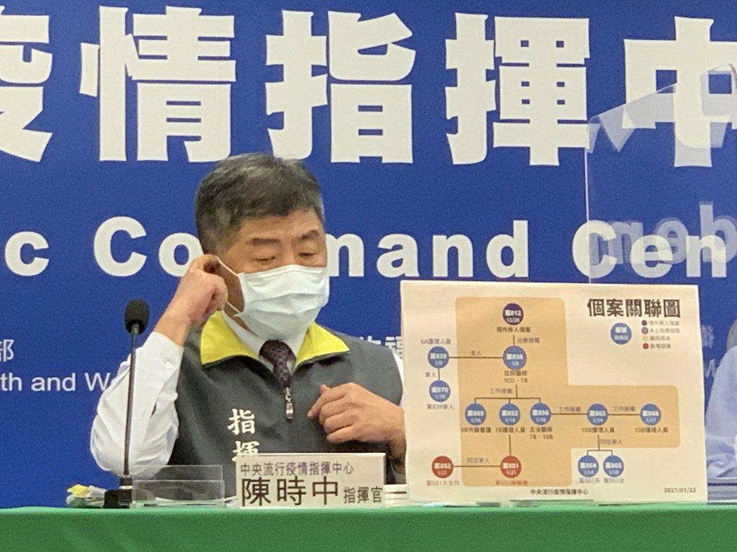 陳時中表示,醫院自1月12日起住院病人只出不進,適用「衛生福利部對受嚴重特殊傳染...
