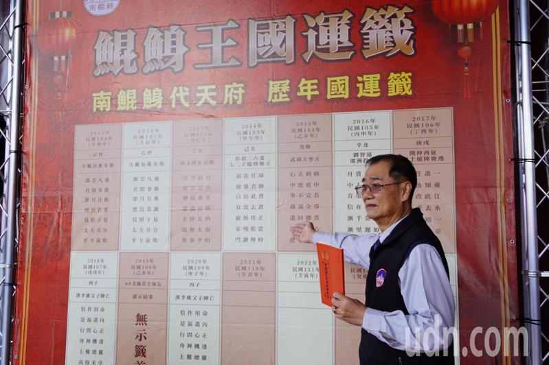 南鯤鯓代天府每年大年初一國運籤都很受矚目。記者吳淑玲/攝影