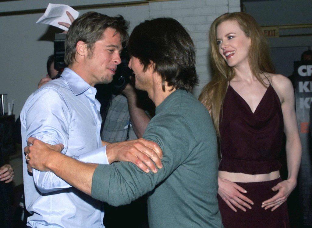 布萊德彼特(左起)曾親赴湯姆克魯斯、妮可基嫚電影首映會上致意。圖/路透資料照片