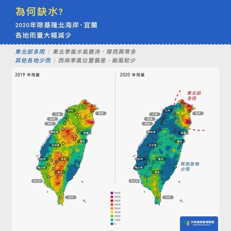 2020年的降雨和2019年比較起來,有普遍減少、更為集中的趨勢。圖/取自臉書粉專「氣象達人彭啟明」