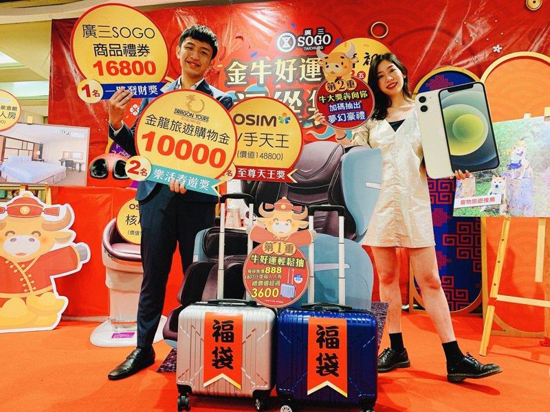 台中廣三SOGO百貨以18吋行李箱當福袋、限量650份,每袋價值3600元以上,已被搶購一空。圖/廣三SOGO提供