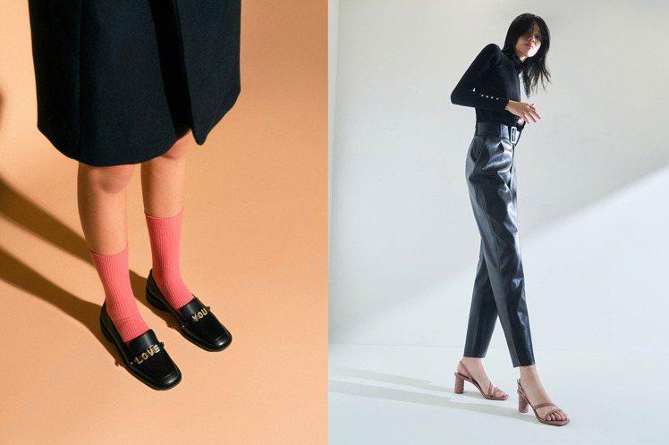 Charles & Keith推出情人節限定系列鞋履,以金屬字樣裝飾、玫...