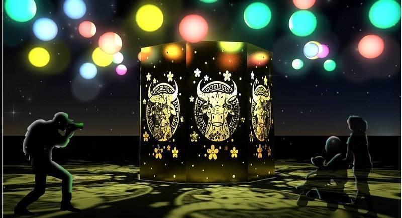 竹北市元宵燈會今年因應疫情,首度改為光雕及裝置藝術的靜態展出,圖為「牛轉乾坤」光雕主燈示意圖。圖/竹北市公所提供
