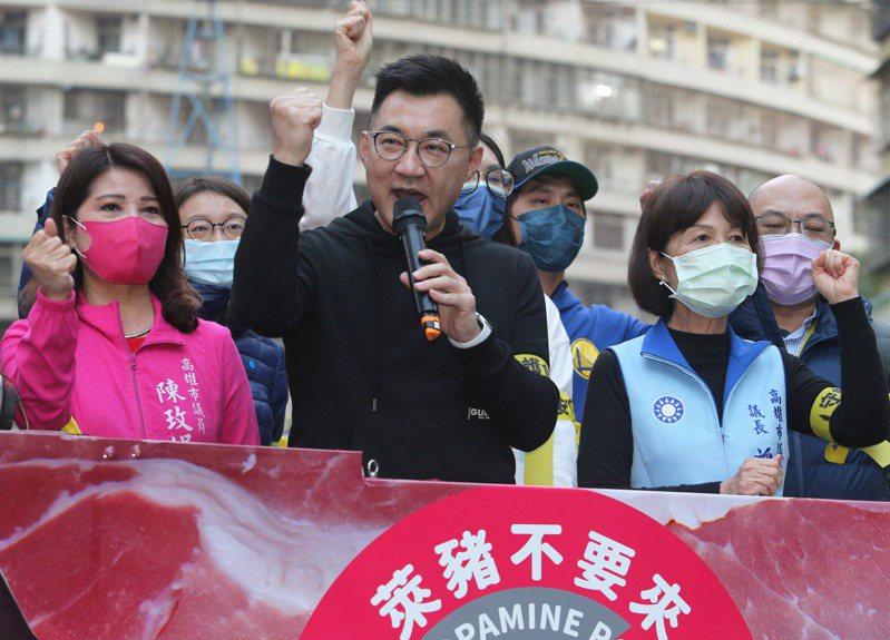 再三被問韓國瑜是否可能投入黨主席競選,江啟臣未多置喙。記者劉學聖/攝影
