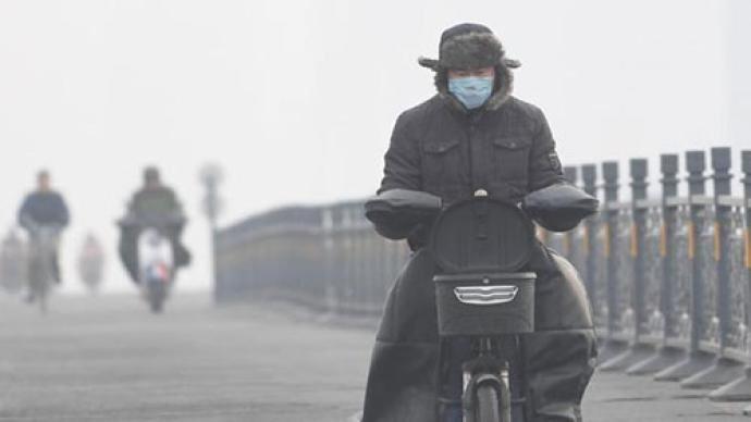 大陸近日出現嚴重PM2.5汙染。圖/取自澎湃新聞
