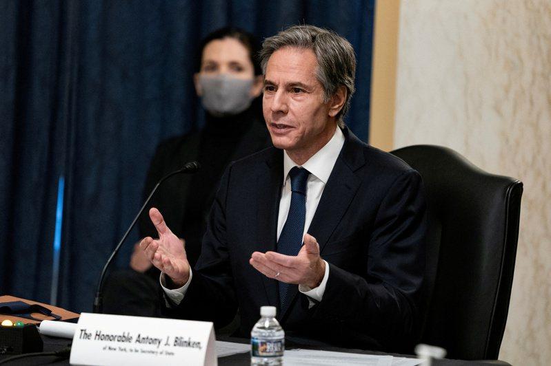 美國國務院23日發表對台灣政策聲明。圖為候任國務卿布林肯19日出席參院聽證會。路透