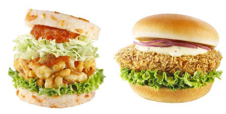 摩斯漢堡新推出「五福櫻花蝦珍珠堡」、「吉祥起司和牛堡」等兩款豪華餐點。圖/摩斯漢...