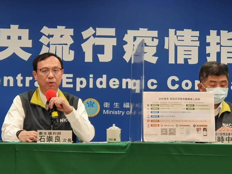 石崇良(左)指出,緊急醫療線上諮詢平台為去年10月開始試辦計畫,高雄、台中和桃園都在試辦範圍,這次因應部桃專案,擴大到健康自主健康管理病人,以及住院當中的陪病人員急同住家人使用。記者楊雅棠/攝影