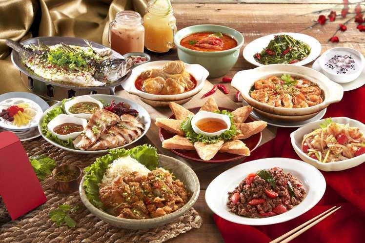 瓦城、非常泰推出的泰式外帶年菜組,共有6、8人組合可供選擇。圖/瓦城提供