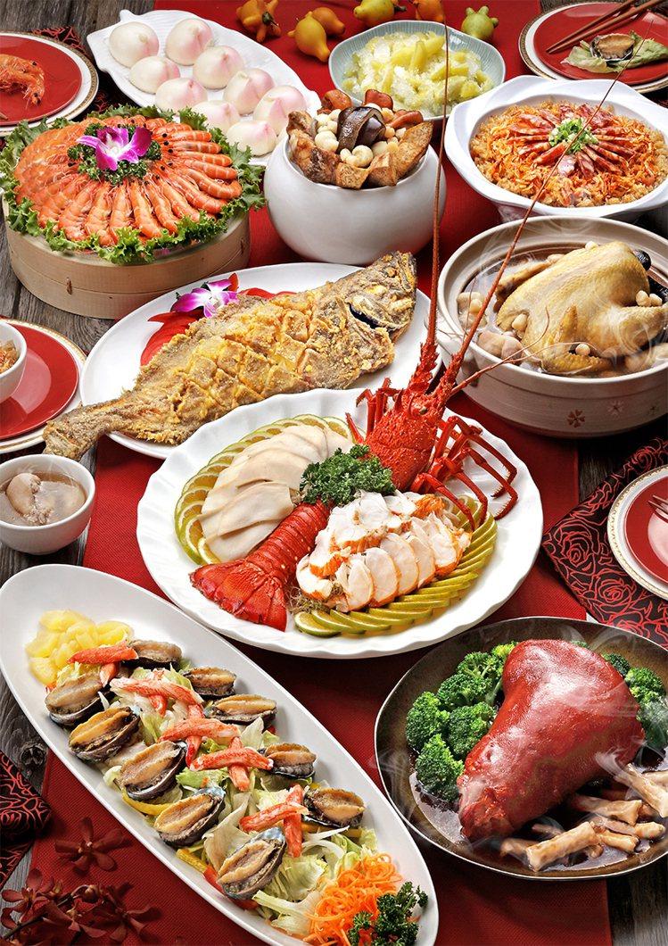 海霸王規劃10道式的「金牛賀新春」年菜套組,每套7,688元。圖/海霸王提供